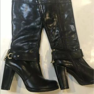 Juicy Couture women's black leather knee Hi boots